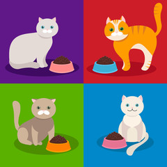 Cat eating food from a bowl. Vector illustration.