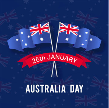Happy Australia day 26 january festive background with flag, balloon, confetti, with water colour effect - Vector