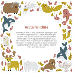 Cute frame template with arctic animals. Childish hand-drawn characters. Vector illustration.