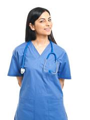 Smiling nurse portrait isolated on white