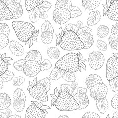 Strawberry. Background, wallpaper, seamless. Sketch. On a white background. Coloring.