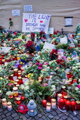 Candles and flowers for terror victims