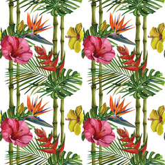 Watercolor tropical wildlife seamless pattern. Hand Drawn jungle nature, bamboo, hibiscus flowers illustration