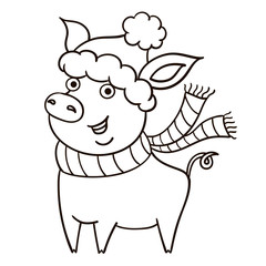 Cute black and white piggy on white background. New year symbol