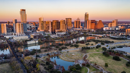 Fototapete - Austin Winter Sunset