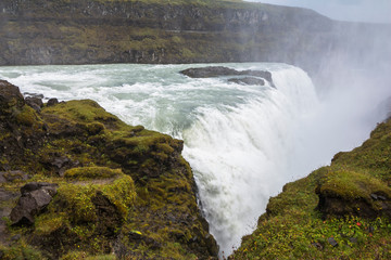View on majestic gullfoss waterfall on Golden Circle Iceland