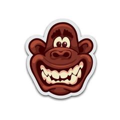 Insane monkey sticker. Isolated vector illustration.