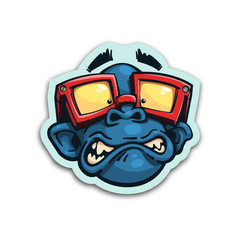 Scared monkey sticker. Isolated vector illustration.