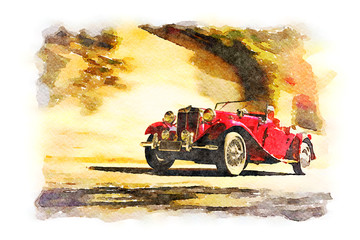 Red vintage roadster car, watercolor digital art.