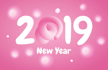 2019 Happy New Year greeting banner with Pink Pig Tail in a shape of number. A symbol of the Chinese 2019 year.
