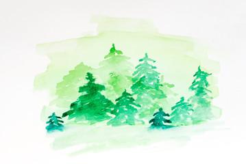 Watercolor abstract woddland