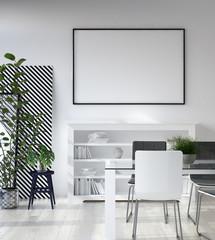 Mockup poster in living room, Scandinavian style, 3d render