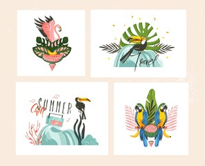 Hand drawn vector abstract graphic cartoon summer time flat illustrations cards template collection set with beach,palm tree and tropical birds isolated on white background
