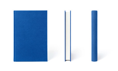 Blue standing hardcover book isolated, the view from three angles.  Cover made of natural linen fabric with uneven rough texture.