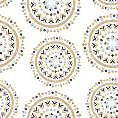 Hand drawn tribal seamless pattern.
