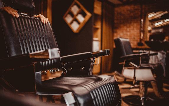Barbershop armchair. Modern hairdresser