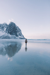 Person standing on the beach with snow covered mountains in the distance