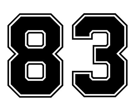 Classic Vintage Sport Jersey Number 83 in black number on white background for american football, baseball or basketball / logos and t-shirt.