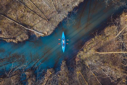Aerial view of people kayaking on river