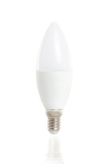 Isolated image of led energy saving white lamp isolated at white background.