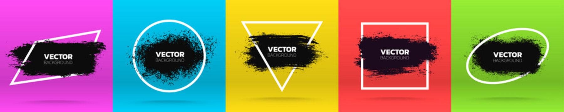 Grunge backgrounds set. Brush black paint ink stroke over various frame. Vector illustration