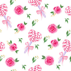 Watercolor seamless pattern with cakepops and pink Lollipop with flowers, ribbon