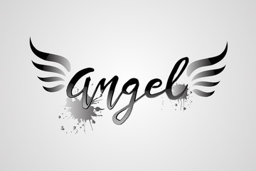 Angel word and wings logo vector