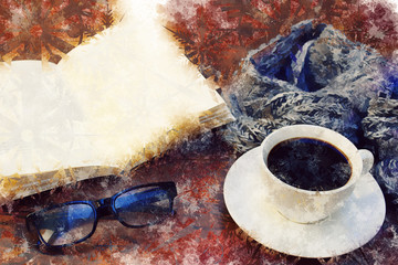 coffee break time - watercolour digitaly created table with coffee, scarf, book, reading glasses - winter break concept