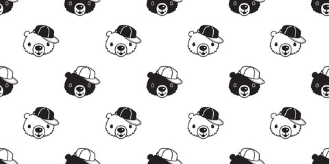 Bear seamless pattern vector polar bear cap hat cartoon scarf isolated repeat wallpaper tile background illustration