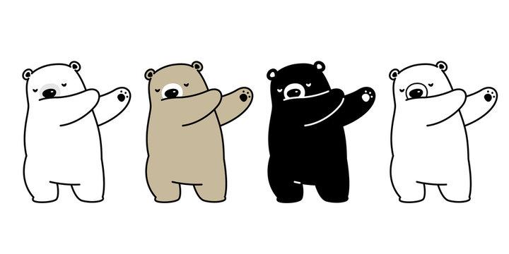 Bear vector polar bear dab dancing cartoon character illustration