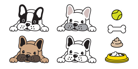 dog vector french bulldog icon bone ball bowl poo logo character cartoon illustration symbol doodle