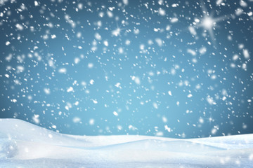 White snow and blue sky for background .Copy space.