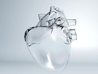 Heart of glass, ice heart, frozen heart, human heart real glass, concept 3d render