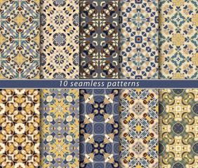 Ten seamless patterns. Symmetrical rectangular ornament in ethnic style. Arabic florid motif.