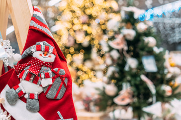 A christmas red socks for gift with a snowman