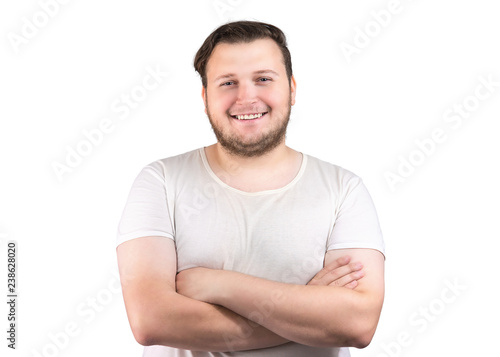 Happy Chubby Man With Arms Crossed Stock Photo And Royalty