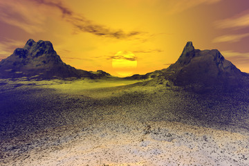 Sunset, a rocky landscape, snow on the ground, a wonderful sun between two mountain peaks and a cloudy sky.