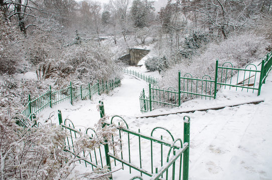 Slippery Stairs After First Snow In Park
