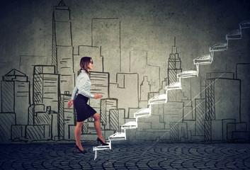Woman walking up career ladder