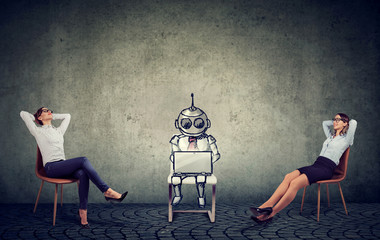 businesswomen relaxing enjoying artificial intelligence assistance in company management