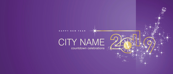 New Year 2019 gold clock firework midnight countdown celebrations purple background