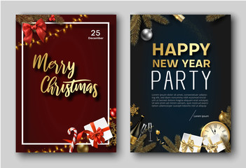 Merry Christmas and New Year party poster or invitation templates.