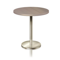 Round table on a chrome metal stand, without a tablecloth. Furniture for a restaurant, cafe, diner and exhibition isolated. furniture for public place interior, vector illustration