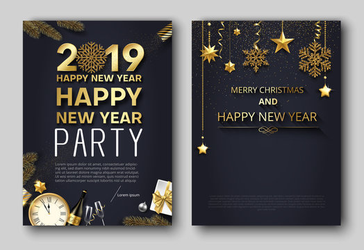 Merry Christmas and New Year 2019 party poster or invitation templates.