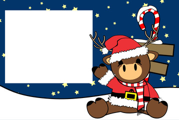 cute baby reindeer cartoon xmas picture frame background card in vector format very easy to edit