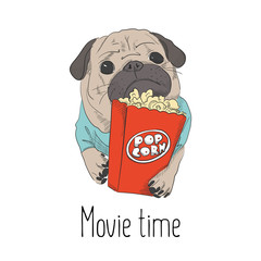Adorable little puppy with pop corn paper bag. Cute pug illustration. Small dog relaxing on weekend  in cinema. Leisure print.