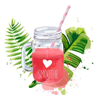 I love smoothie. Smoothie jar with tropical leaves.