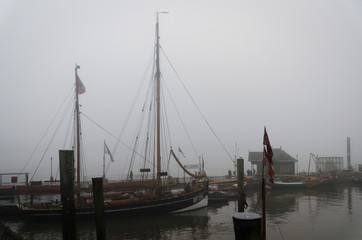 Vintage port with old ships