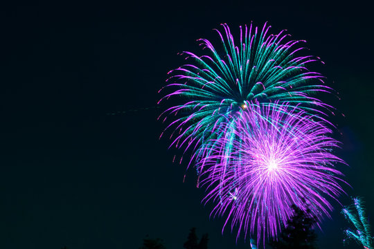 Fantasy purple and green fireworks display on dark sky background; Celebrations, Festivals, Independence Day, 4th of July or New Year