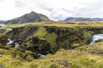 Landscape above Skogafoss waterfall, moss, scenic, Iceland